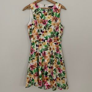 Forever 21 floral sleeveless mini dress white pink
